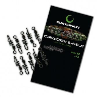 Gardner Obratlíky Covert Corkscrew Swivels, vel. 8, 10ks