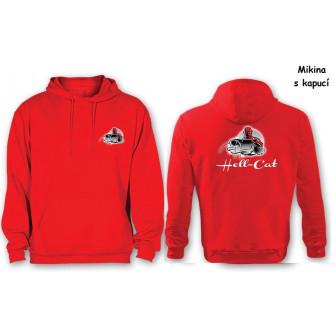 Mikina Hell-Cat klokánek s kapucí červená|S
