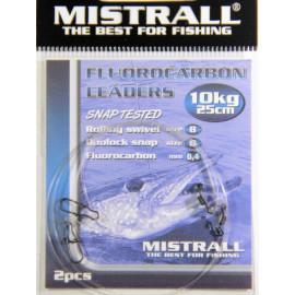 MISTRALL Fluorocarbon leaders 25cm - 10kg(2ks)
