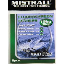 MISTRALL Fluorocarbon leaders 30cm - 15kg(2ks)