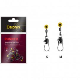 DELPHIN Feederový běžec s karabinkou RUNNER / 10ks - S