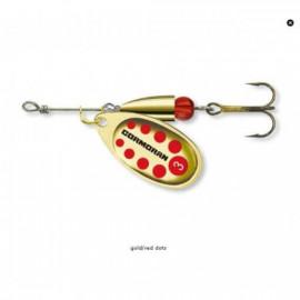 CORMORAN - Třpytka BULLET longcast zlatá s červenými tečkami, trojháčkem vel. 3 7g