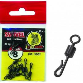Extra Carp Quick Change Swivel vel.10 (21kg) - 10ks
