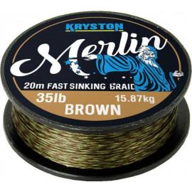 Pletenka Kryston MERLIN   FAST SINKING BRAID 20m / 15lb / 6,8kg - BROWN