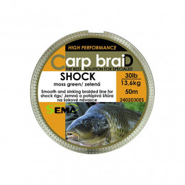 Pletenka Sema Carp Braid SHOCK  -  50m / 40lb / 18,2kg CAMO GREEN
